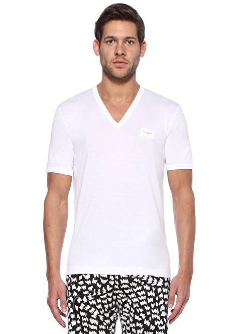 Dolce&Gabbana V Yaka Tişört Beyaz